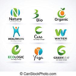 wektor, alfabet, ekologia, zielony