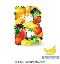wektor, alfabet, fruit., b, litera