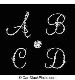 wektor, alfabetyczny, diament, komplet, letters.