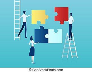 wektor, asemblując, puzzle., handlowy zaludniają