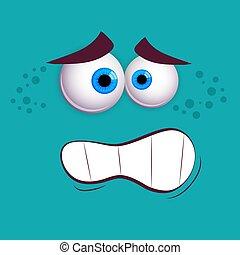 wektor, barwny, oczy, zabawny, rysunek, monster., twarz, odizolowany, smiley, błękitny, ilustracja, uśmiechanie się, expression., sprytny, tło.