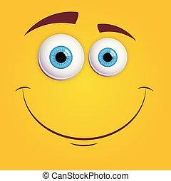 wektor, barwny, oczy, zabawny, rysunek, monster., twarz, odizolowany, smiley, błękitny, ilustracja, uśmiechanie się, expression., żółty, sprytny, tło.