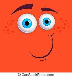 wektor, barwny, sprytny, oczy, zabawny, rysunek, monster., twarz, odizolowany, smiley, błękitny, ilustracja, uśmiechanie się, expression., pomarańcza, tło.