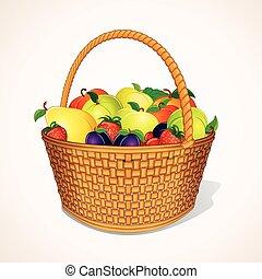 wektor, basket., organiczny, ogród, owoce
