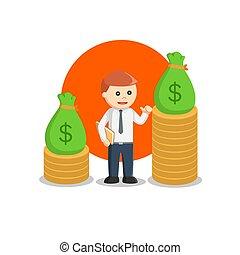 wektor, bogaty, ilustracja, projektować, człowiek, handlowy
