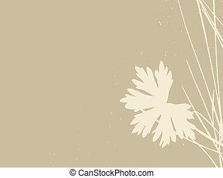 wektor, brunatne tło, ilustracja, ziele