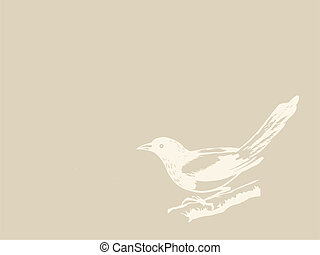 wektor, brunatne tło, ptak, ilustracja