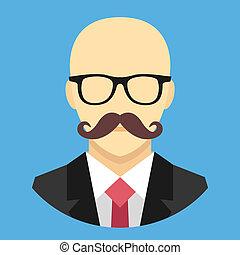 wektor, bu, łysy, wąsy, człowiek