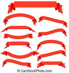 wektor, chorągwie, komplet, czerwony, wstążki, ilustracja