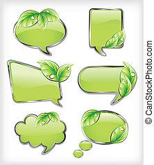 wektor, chorągwie, leaf., zielony, ilustracja