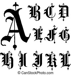 wektor, chrzcielnica, gotyk, średniowieczny, a-l