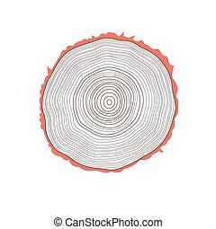 wektor, cięty, drzewo