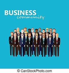wektor, community., l, handlowy, polityka, albo, płaski, ilustracja