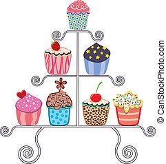 wektor, cupcakes, różny, stać, zbiór