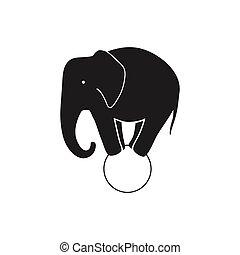 wektor, cyrkowy słoń