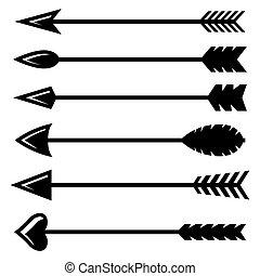 wektor, czarna strzała, ikony, komplet, łuk