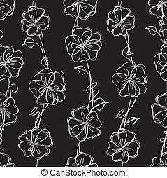 wektor, czarnoskóry, kwiatowy, tło, seamless