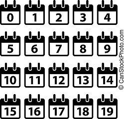 wektor, czarnoskóry, liczba, ikony