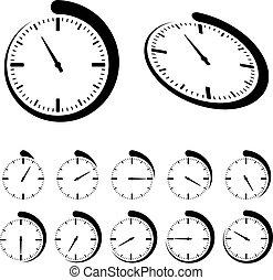 wektor, czarnoskóry, okrągły, chronometrażysta, ikony