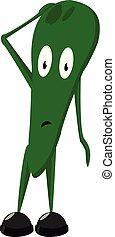 wektor, czarnoskóry, potwór, zabawny, rysunek, obuwie, zielony, albo, kolor, ilustracja