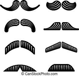 wektor, czarnoskóry, wąsy, ikony