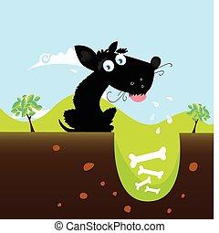 wektor, czarny pies, bones.