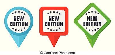 wektor, czerwony, odpoczynek, wskazówki, redagować, markiery, nowy, tło, icons., odizolowany, komplet, znak, biały, błękitna zieleń, barwny, wydanie, rozmieszczenie
