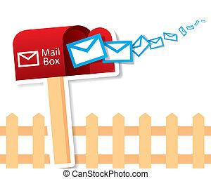 wektor, czerwony, skrzynka pocztowa
