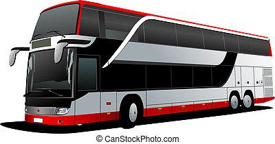 wektor, dekorator, coach., podwójny, czerwony, bus., ilustracja, turysta