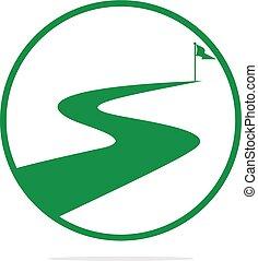 wektor, design., powodzenie, droga, logo