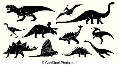 wektor, dinozaur, icons., komplet, stylizowany, geometrycznie