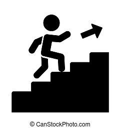 wektor, do góry, chodzenie, icon., schody, człowiek
