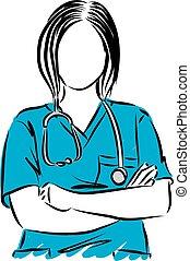 wektor, do góry, ilustracja, doktor, kobieta, zamknięcie