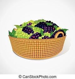 wektor, dojrzały, słodki, basket., winogrona, tkany