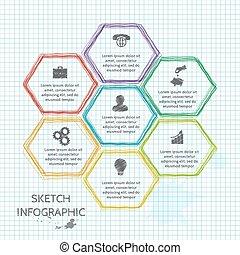 wektor, doodle, rys, elementy, infographic.