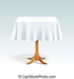 wektor, drewno, skwer, stół, tablecloth, opróżniać