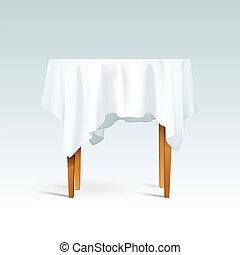 wektor, drewno, stół, tablecloth, okrągły, opróżniać
