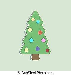 wektor, drzewo, boże narodzenie