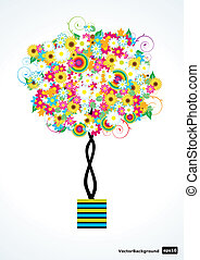 wektor, drzewo, kwiat