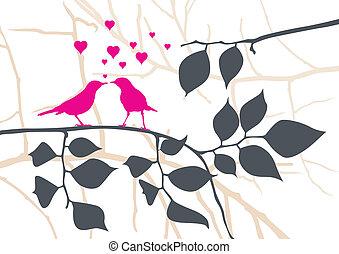 wektor, drzewo, -, miłość ptaszki