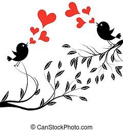 wektor, drzewo, ptaszki, ilustracja