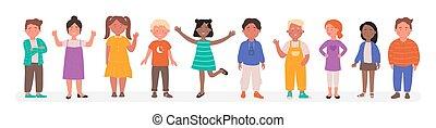 wektor, dziecko, mały, rysunek, litery, prąd, płaski, grupa, rozmaity, ilustracja, chłopiec, reputacja, kreska, uśmiechanie się, szczęśliwy, dzieciaki, dziewczyna, szkoła, razem, różny