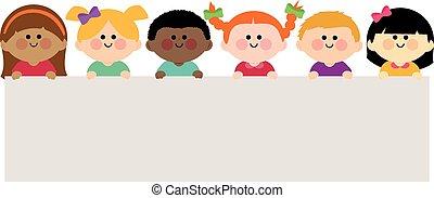 wektor, dzierżawa, czysty, grupa, dzieci, banner., ilustracja