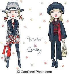wektor, fason, dziewczyny, zima ubranie