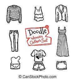 wektor, fason, ikony, doodle, set., zbiór, ręka, obiekty, pociągnięty, odzież, kobiety