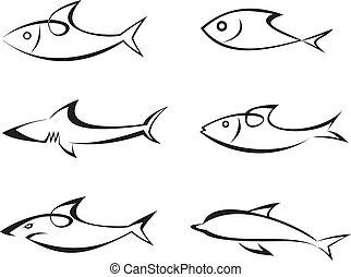 wektor, fish, komplet, -, ikony