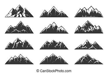 wektor, góra, śnieżny, skalisty, szpice, łańcuch, górki