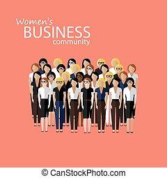 wektor, g, community., kobiety, płaski, handlowa ilustracja, wielki