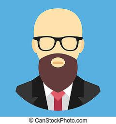 wektor, glas, łysy, broda, człowiek