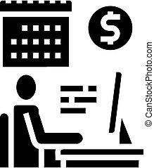 wektor, glyph, online handlarski, ikona, ilustracja, biznesmen